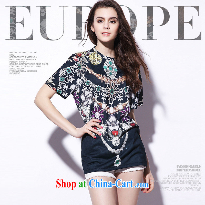9 month dress _ 2015 summer New Gems stamp short-sleeved T-shirt, long black 8864 L