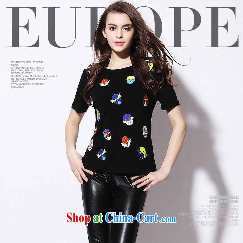 9 month dress _ short-sleeve T-shirt women 2015 European and American fashion ladies' robot head embroidered beauty and women's cut T-shirts 8849 black L