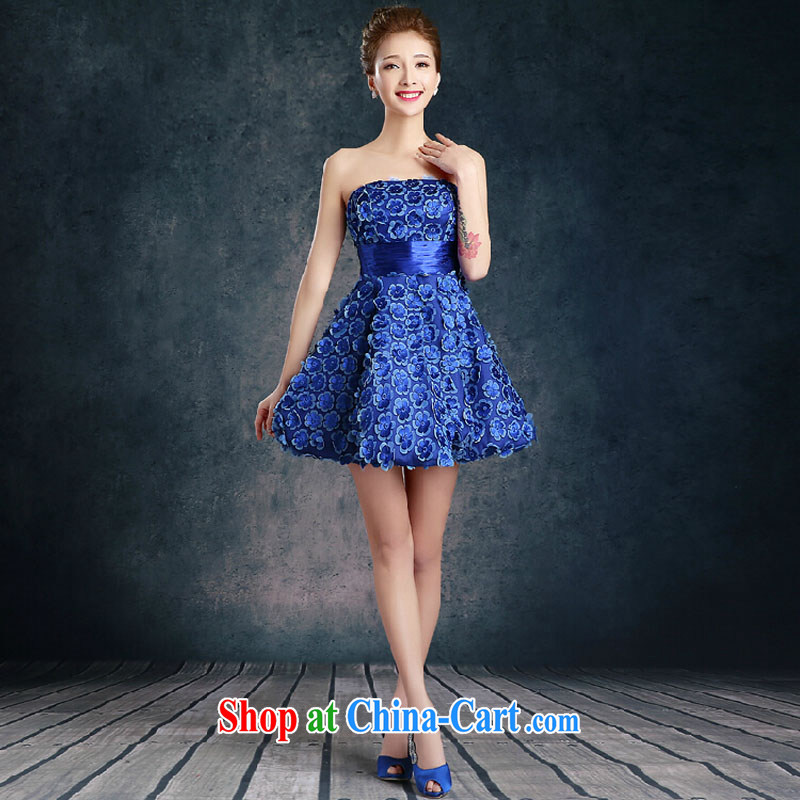 Summer short bridal dresses 2015 new stylish wedding toast serving Red video thin bridal dress summer blue Mary Magdalene, chest XL
