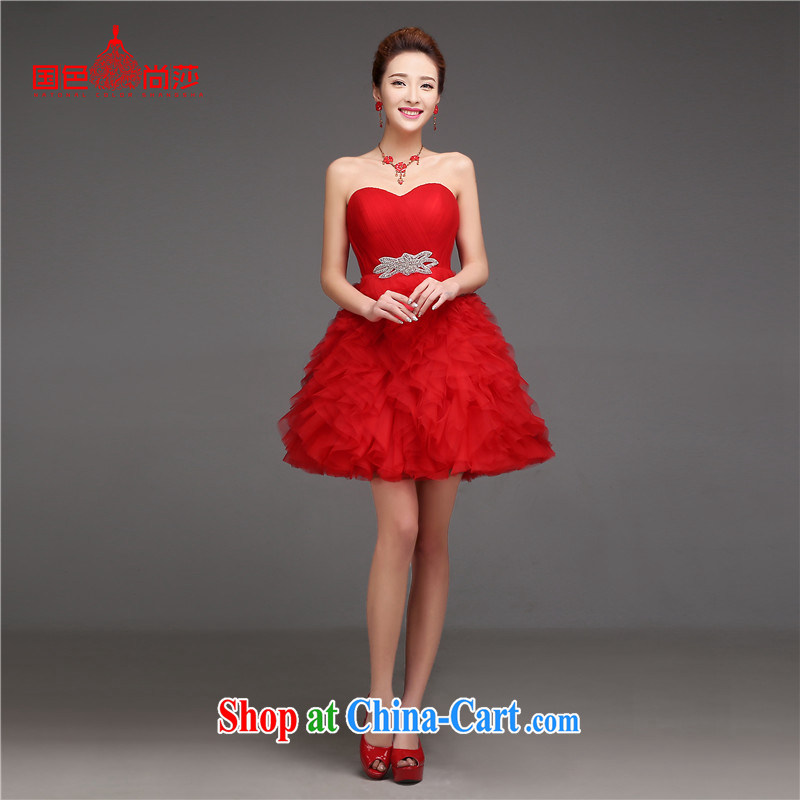 2015 new summer Korean short thick bridal small wedding dress bride wedding toast clothing dress red XL