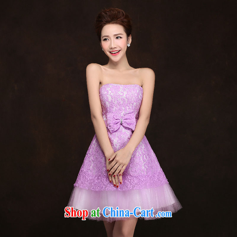 The china yarn fashion 2015 new wedding dresses spring bridesmaid clothing purple evening dress short sister's light purple. size do not accept return