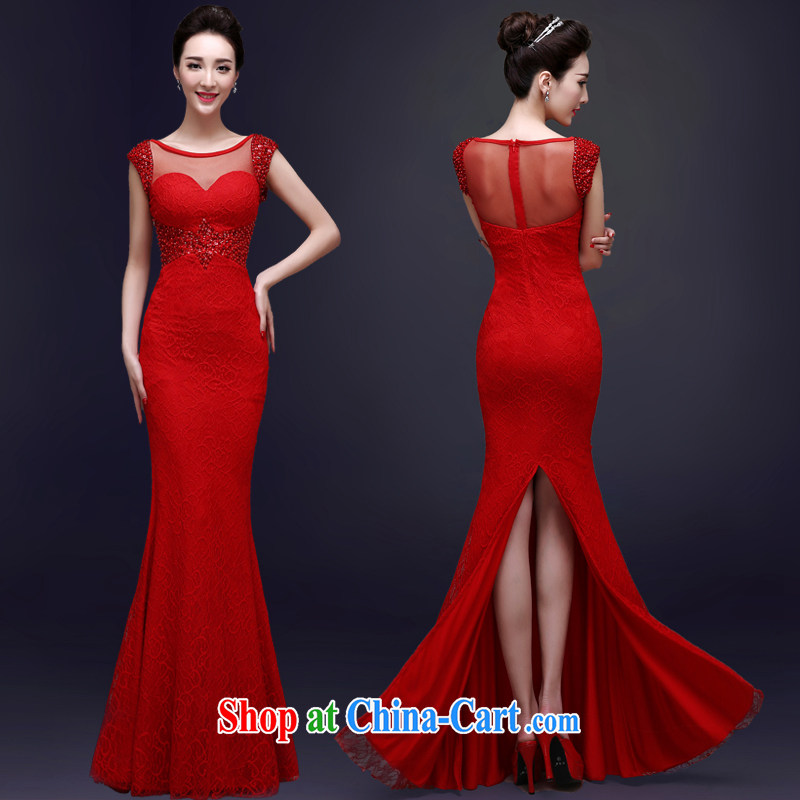 A good service is 2015 new bride's toast serving summer red wedding dresses wedding dresses Evening Dress long red M