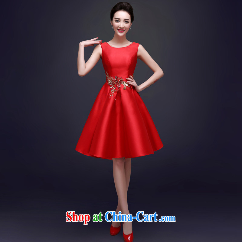 A good service is 2015 bridal toast clothing Spring Summer dresses stylish evening dress short marriage, small red dress female Red M