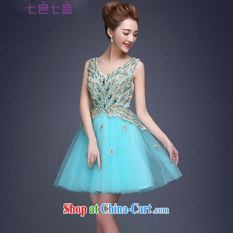 7 color 7 tone Korean version 2015 New Dual shoulder stylish bridesmaid dresses small spring and summer evening dress short bridal dresses L 031 Lake blue XL