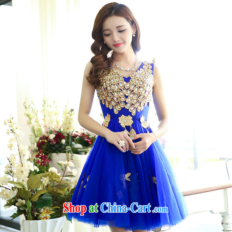 Floating love Ting 2015 spring and summer new dress code the wedding dresses female inserts drill wedding dress bridal dinner service performance service female royal blue XL