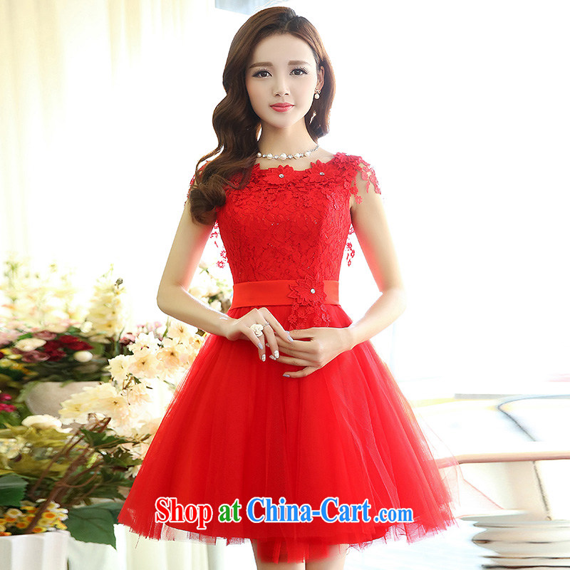 Floating love Ting spring 2015 new stylish bows Service Bridal bridesmaid clothing red wedding dresses wedding dress short skirt red XL
