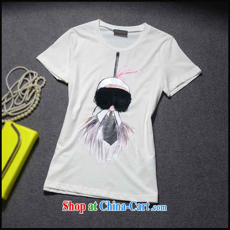 9 month dress _ The European site spring 2015 female new cartoon Fox hair stitching knocked color beauty T-shirt cotton shirt T GC 3093 black L