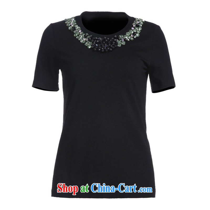9 month dress * The European site boutique women's clothing high-end stylish new collar and pearl nails drill inserts solid color T shirt short-sleeved BC 1405 black L