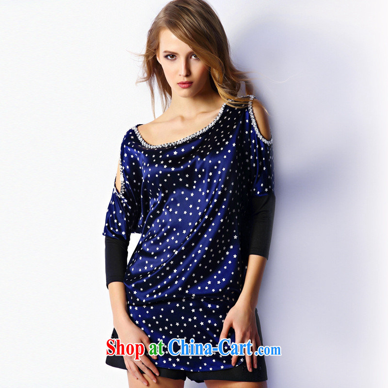 9 month dress * 2015 spring and summer new European site exposed shoulder Stars stamp round collar shirts, long, black 0636 XL