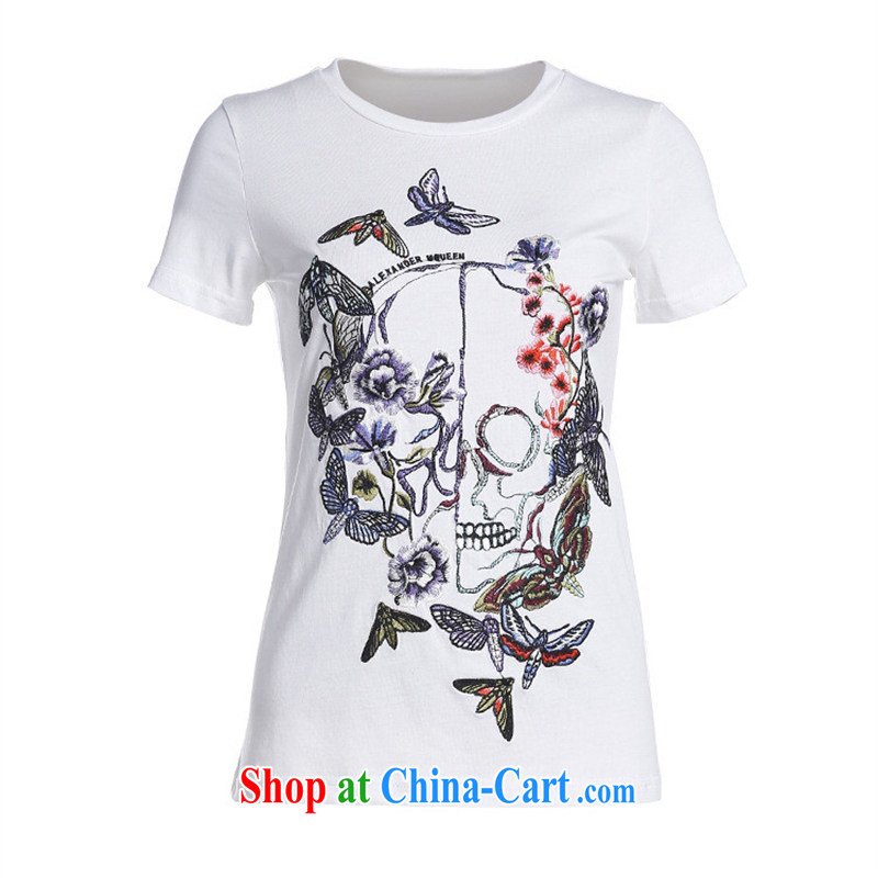 9 month dress * Shenzhen the European site high-end stylish foreign trade dress Mak Ka-heavy industry embroidery T shirt short-sleeved BC 1902 black L