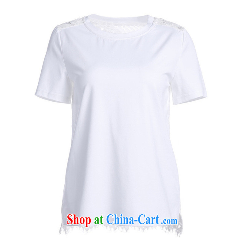 9 month dress _ 2015 New boutique style Female European site round-collar Solid Color lace spelling T cotton shirt short-sleeved BC 1404 white L