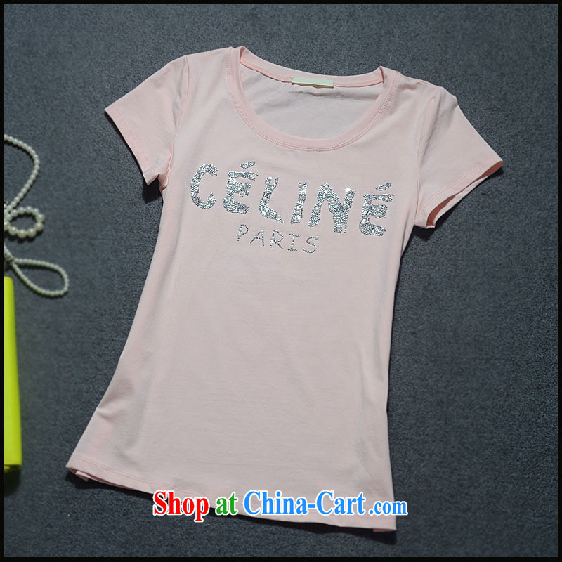 9 month dress _ The European site 2015 spring female new big letters to the hot drill tile beauty T-shirt cotton Tgc 3094 white L