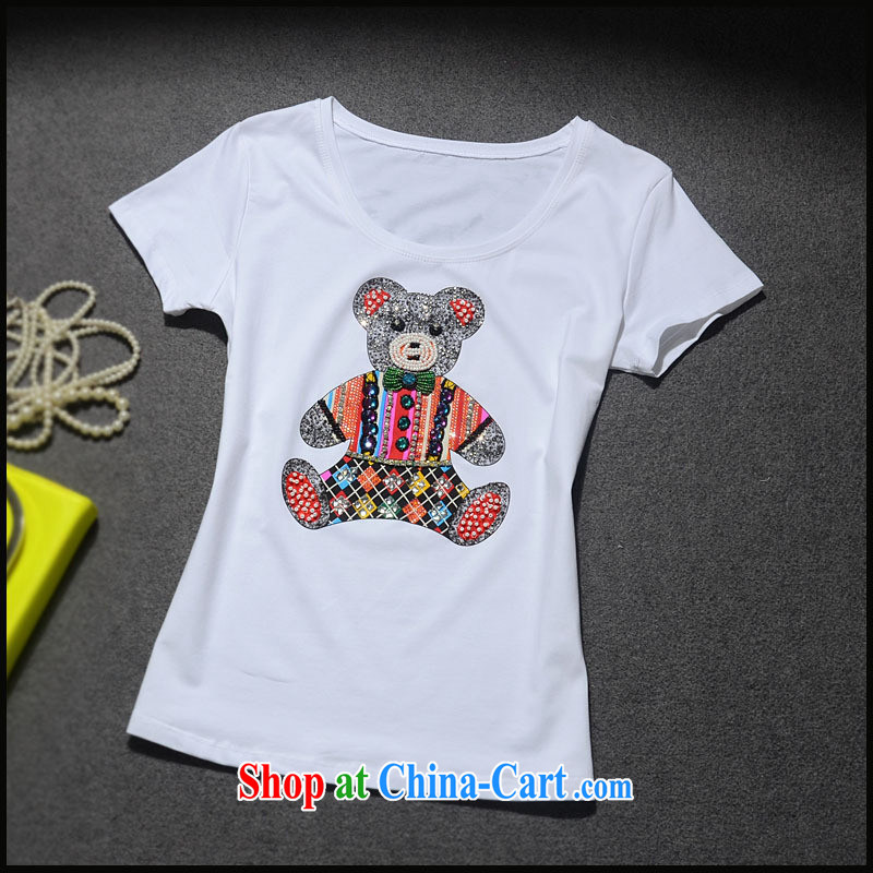 9 month dress * The European site 2015 spring female new cubs pattern to the staple-ju parquet drill beauty T-shirt cotton Tgc 3092 white L