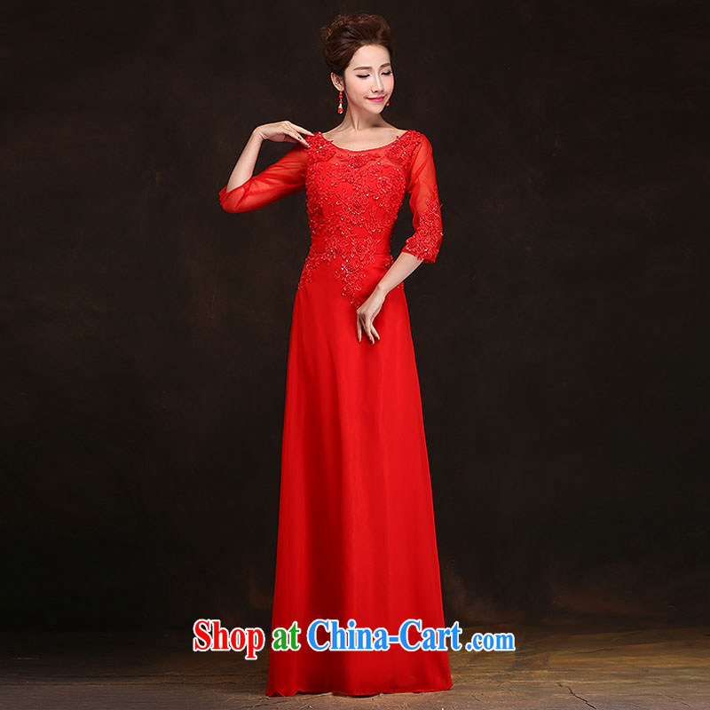 The china yarn spring 2015, bridal wedding toast serving long, Ms. banquet dress cuff in wedding a field Red. size do not accept return