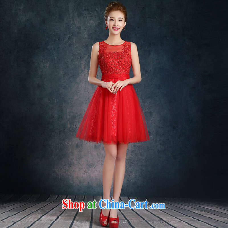 Short Evening Dress 2015 new wedding banquet dress summer thick beauty bridal dresses red XL