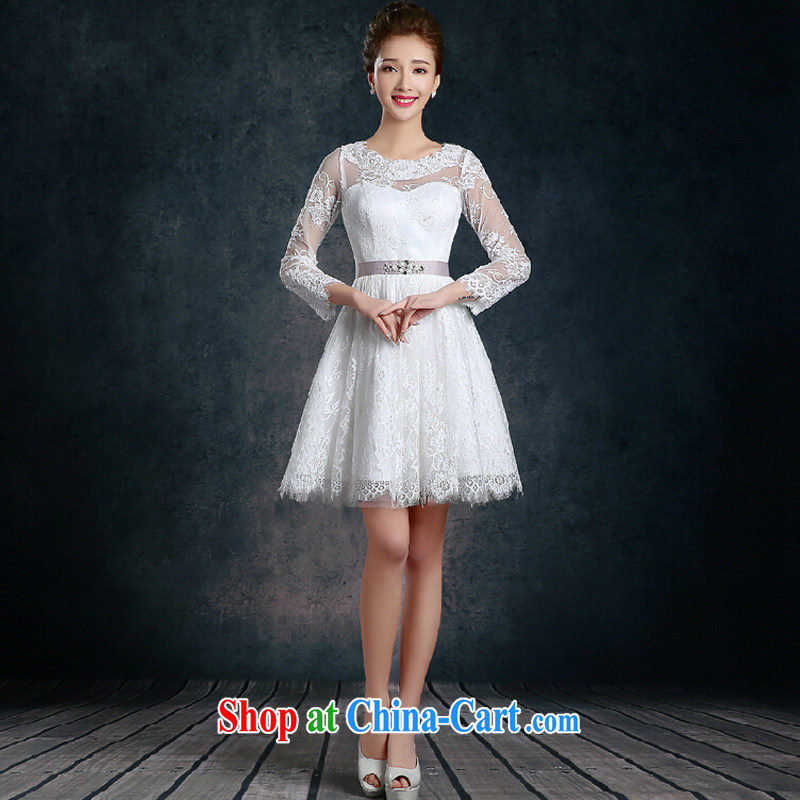 fall and winter long-sleeved lace bridesmaid dress 2015 new white wedding banquet dress short dress annual skirt white XL