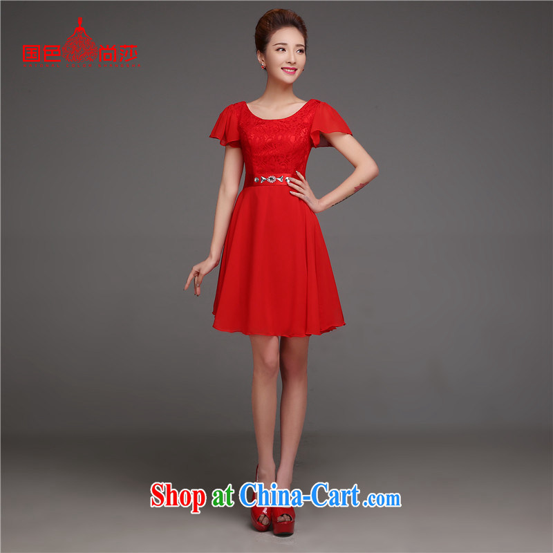 2015 spring and summer, Deep V collar bridal toast serving Korean version of the new stylish graphics thin Princess short sleeve wedding dress red short XL