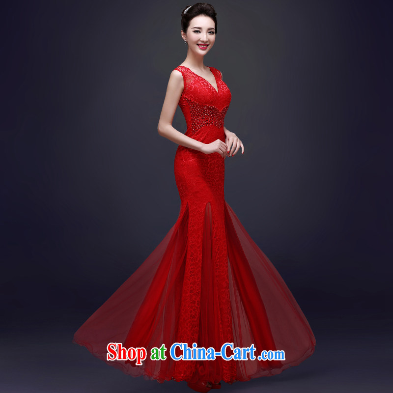 Serving a good solid Evening Dress long 2015 new bride toast serving spring red wedding dress girls dresses red M