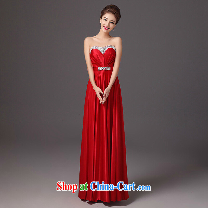 Summer bridal toast clothing fashion 2015 new erase chest long evening dress Red Beauty wedding dresses red XL