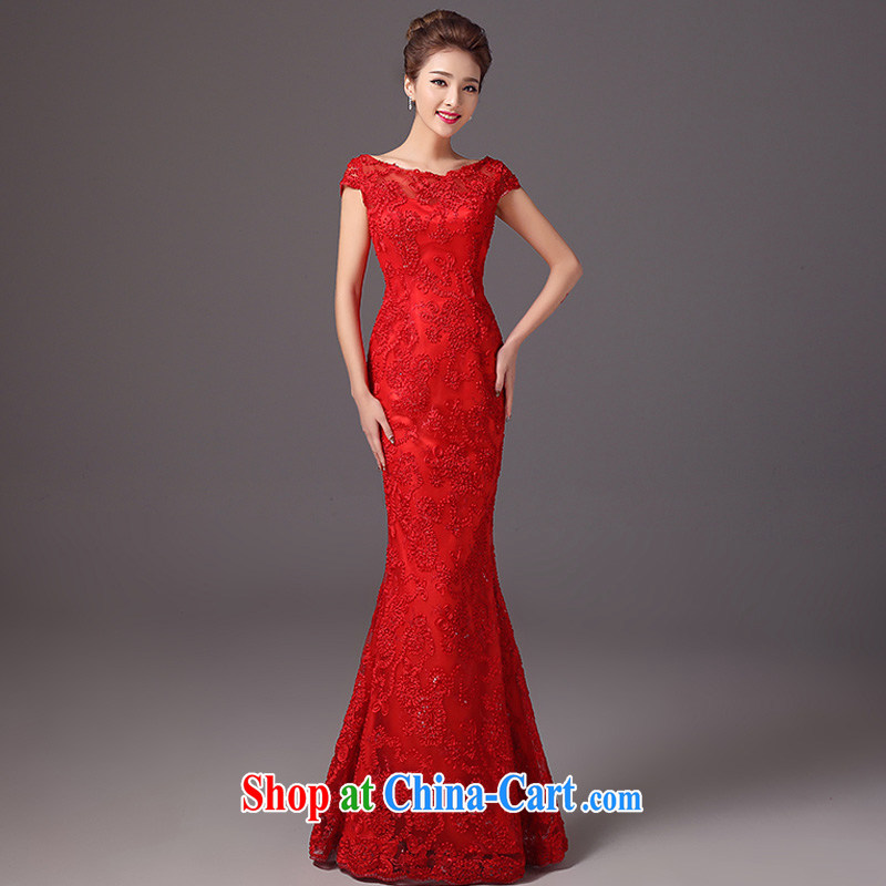Spring and Summer, Autumn 2015 new stylish bridal dresses the Field shoulder crowsfoot Sau San wedding toast serving long red evening dress red M