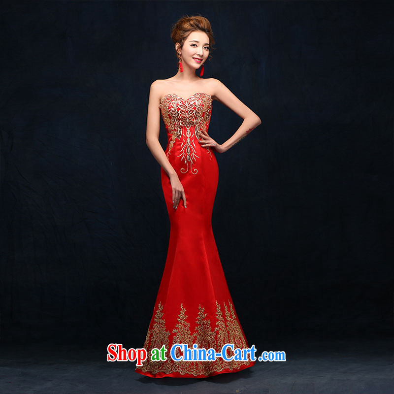 New wedding dresses red 2015 style marriages served toast toast serving spring beauty red XL