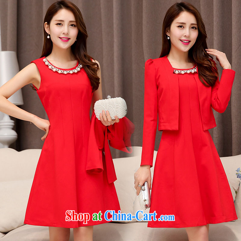 Floating love Ting bride's wedding toast serving pregnant women wedding dress 2015 new short red banquet autumn bridesmaid clothing winter spring XXL