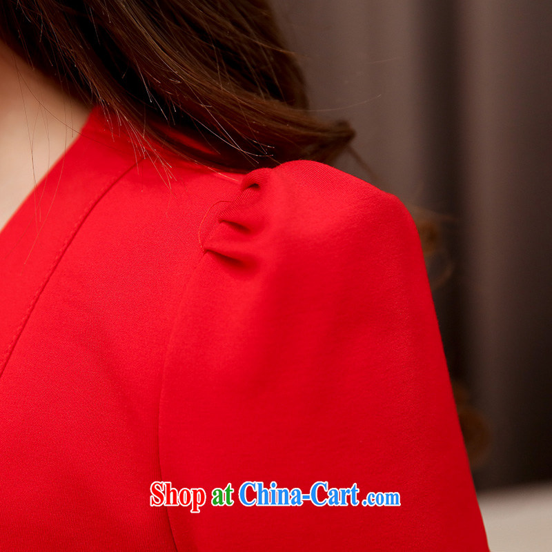 Floating love Ting marriages served toast pregnant women wedding dress 2015 new short red banquet autumn bridesmaid clothing Winter spring XXL crossed love Ting (PIAOAITING), online shopping