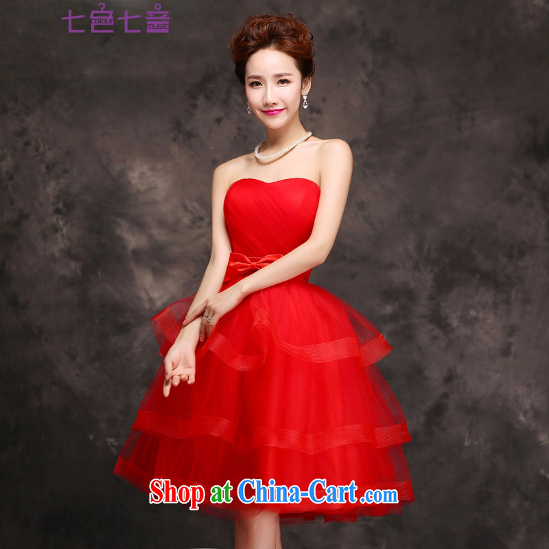 7 color 7 tone Korean version 2015 new erase chest short wedding dresses bridesmaid service shaggy dress evening dress spring and summer L 032 red tailored is not returned.