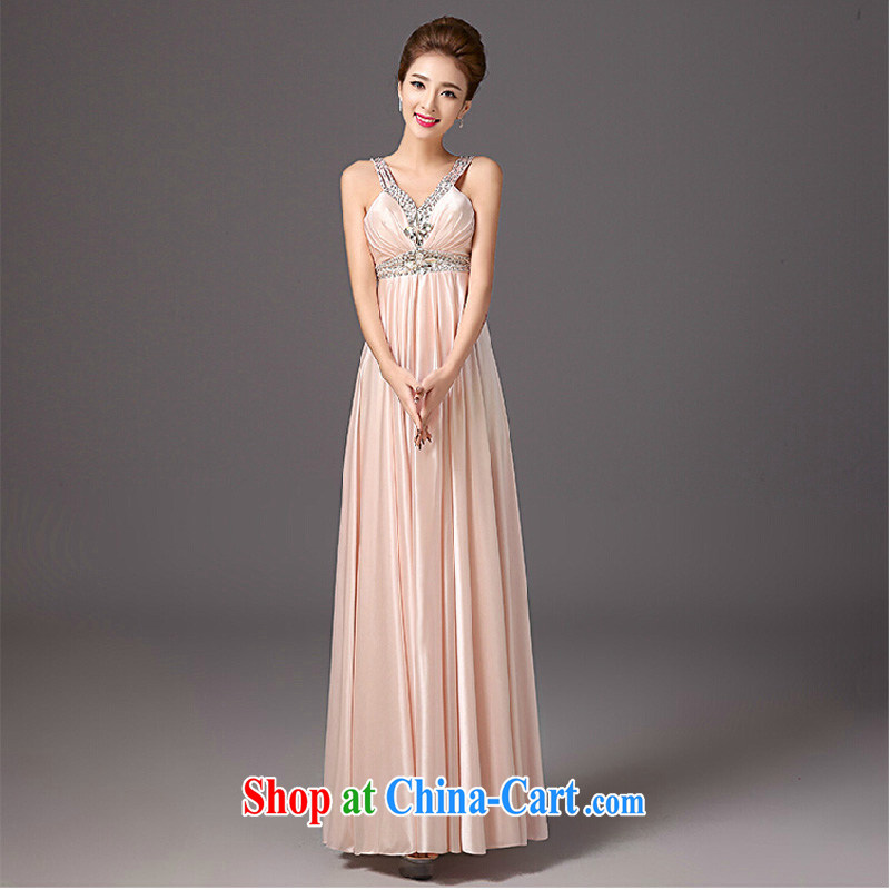 2015 new summer bridesmaid dress long dual-shoulder Deep V annual small dress dress dress beauty dress pink XXL