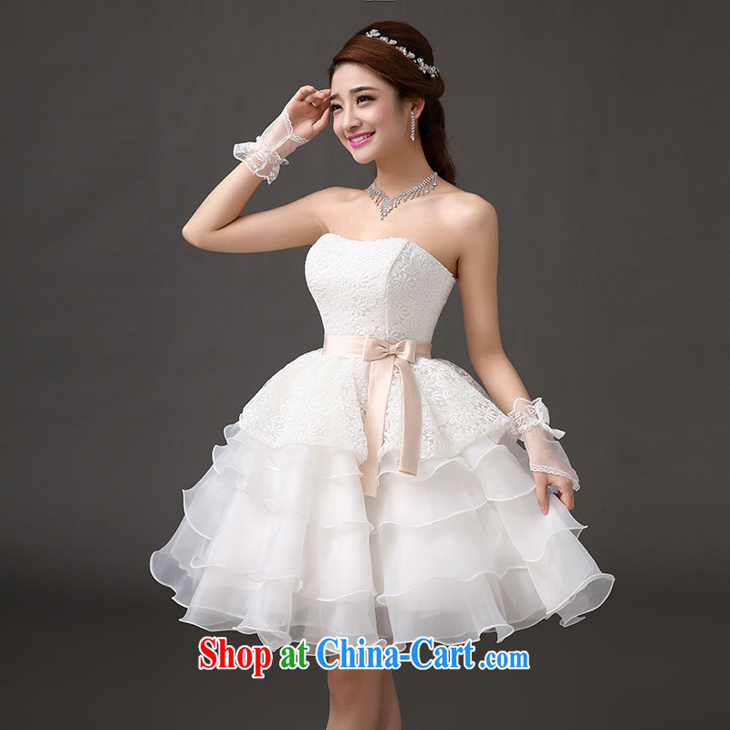 The china yarn bridal short wedding toast dress banquet presided over a short skirt bridesmaid dress Princess dresses white. size does not accept return