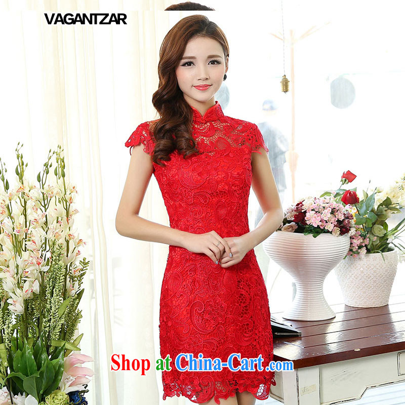 2015 VAGANTZAR New Red lace bridal dresses toast clothing fashion dresses crowsfoot long gown beauty 1502 XXL