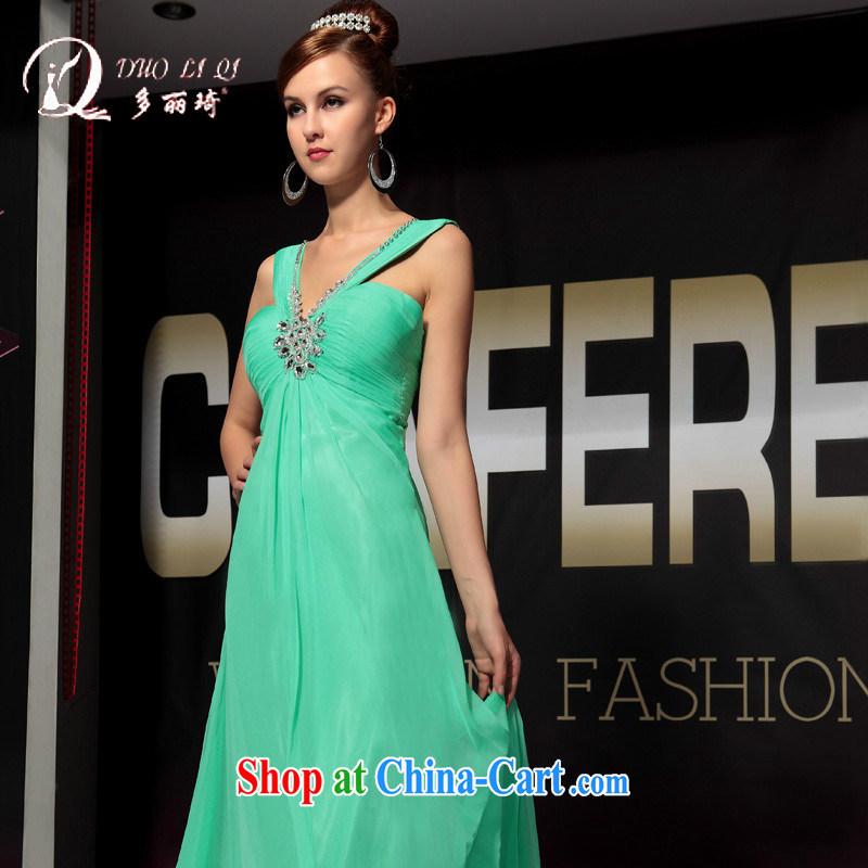Multi-LAI Ki blue shoulders upscale dinner banquet dress green L, Li Qi (Doris dress), and, on-line shopping