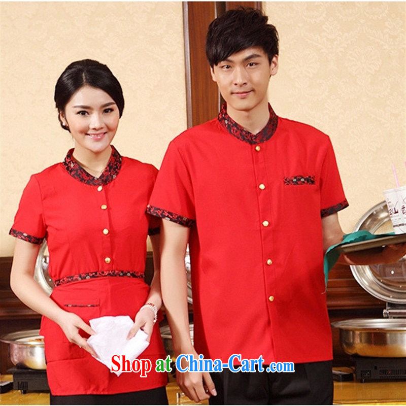 Black butterfly hotel clothing summer restaurant staff working dress short-sleeved Hotel Hot Pot Restaurant work clothing, red XXL