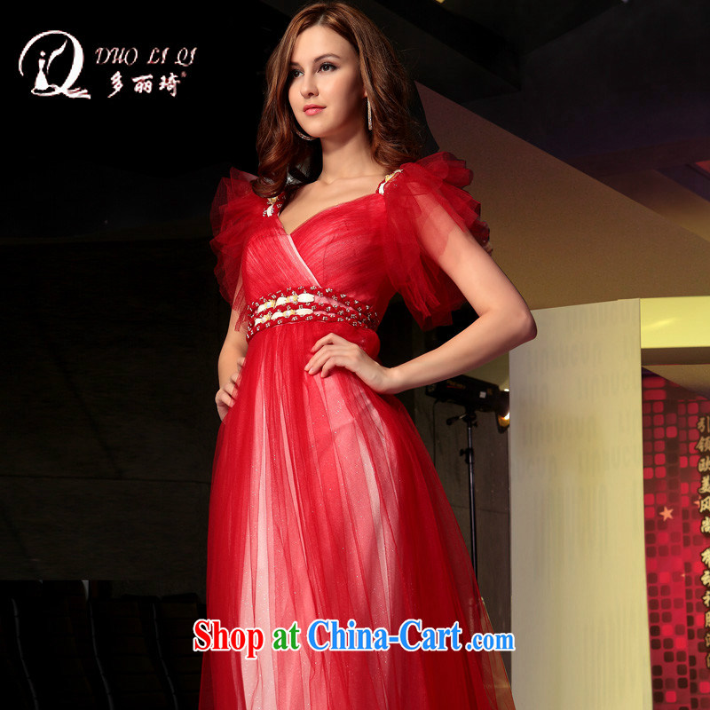 More LAI Ki bridal red dress Deep V Web yarn bridal bridesmaid dresses toast red S