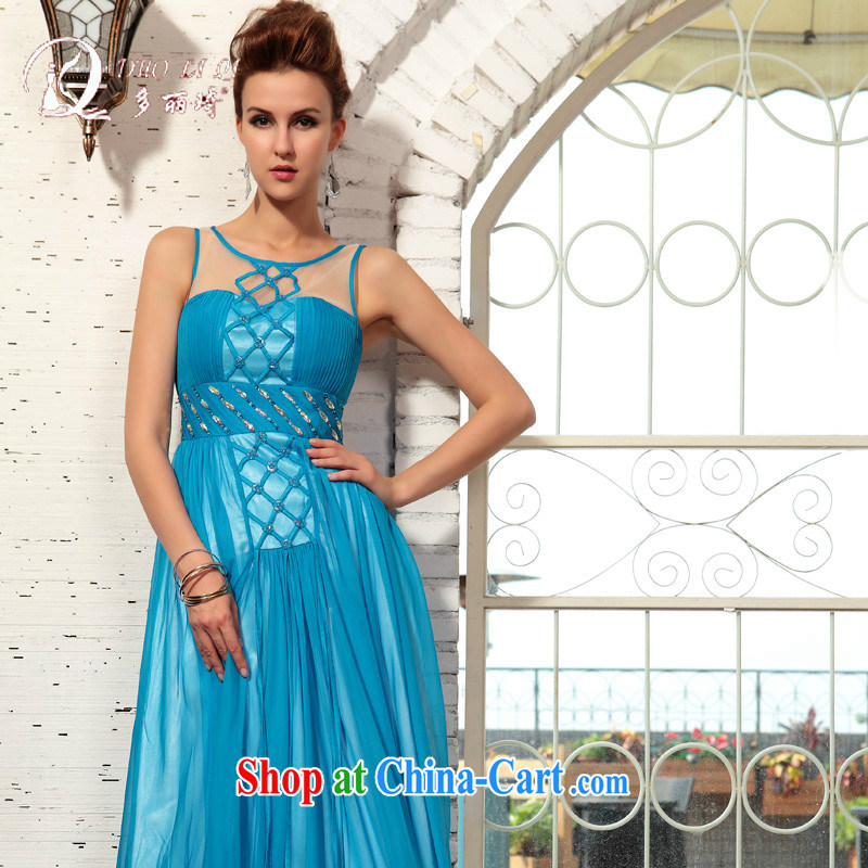 More than Li Qi 2015 spring more LAI Ki evening party dance dress in Europe Evening Dress blue XXL