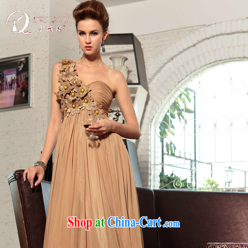 More LAI Ki ball dress single shoulder-length dresses, wedding dresses tea color XXL