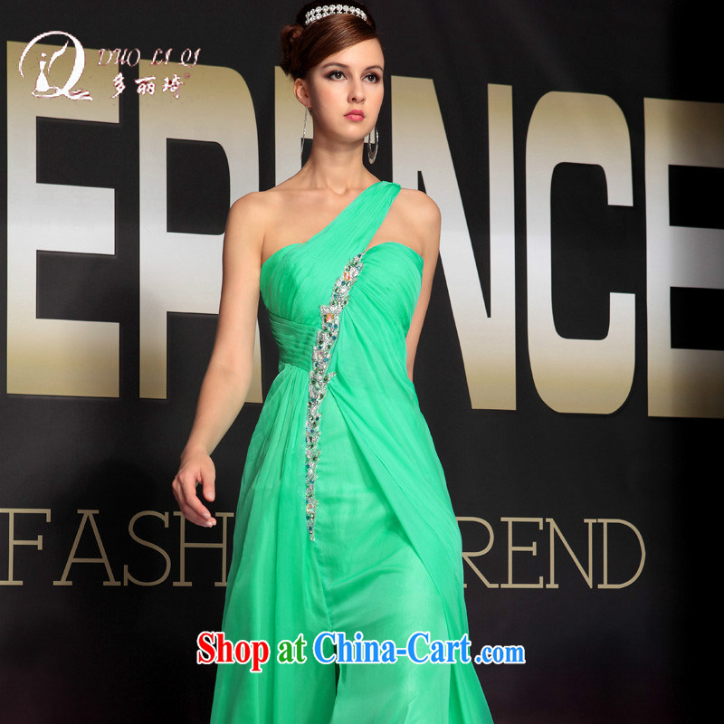 More LAI Ki Elegant one shoulder dress sense of the shoulder long dress green XXL