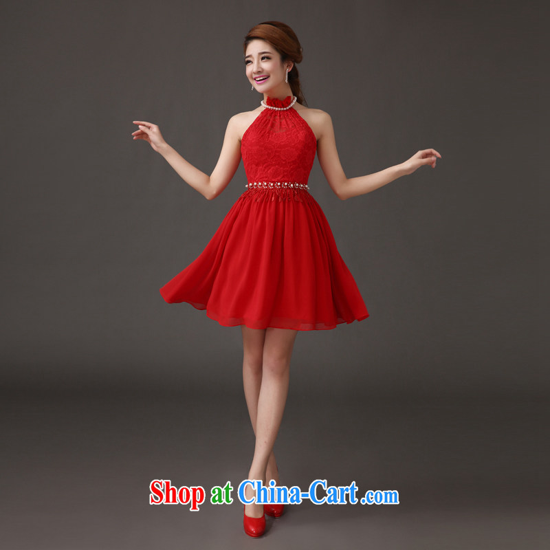 The china yarn 2015 new bride's wedding dresses small red hook also stylish short skirts wedding dresses bows dress Red. size does not accept return