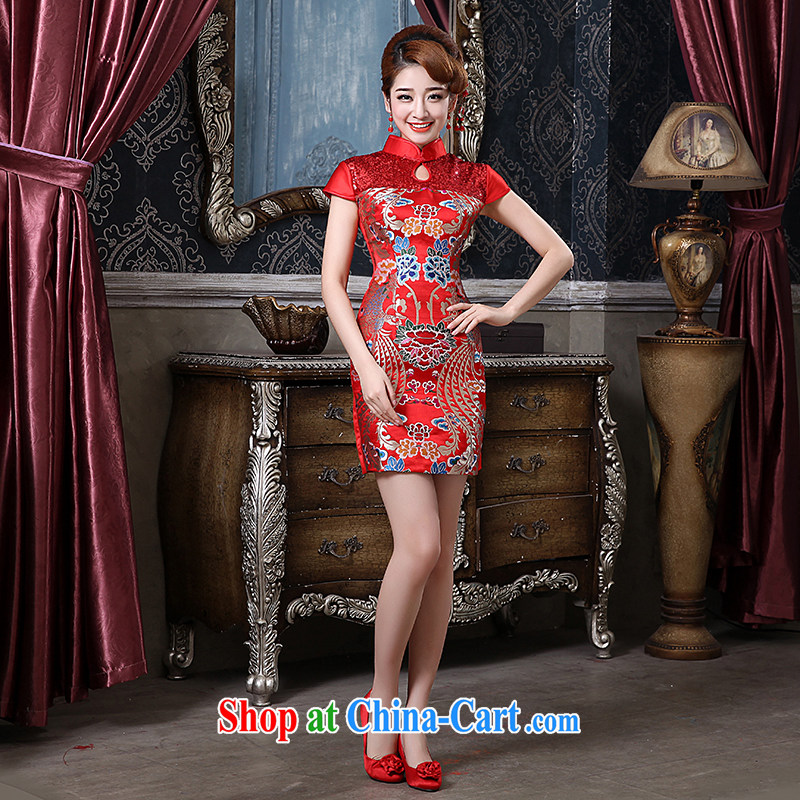 The china yarn spring 2015 new dresses bridal Red Beauty serving toast the doors classic improved cloud Kam short cheongsam Red. size does not accept return