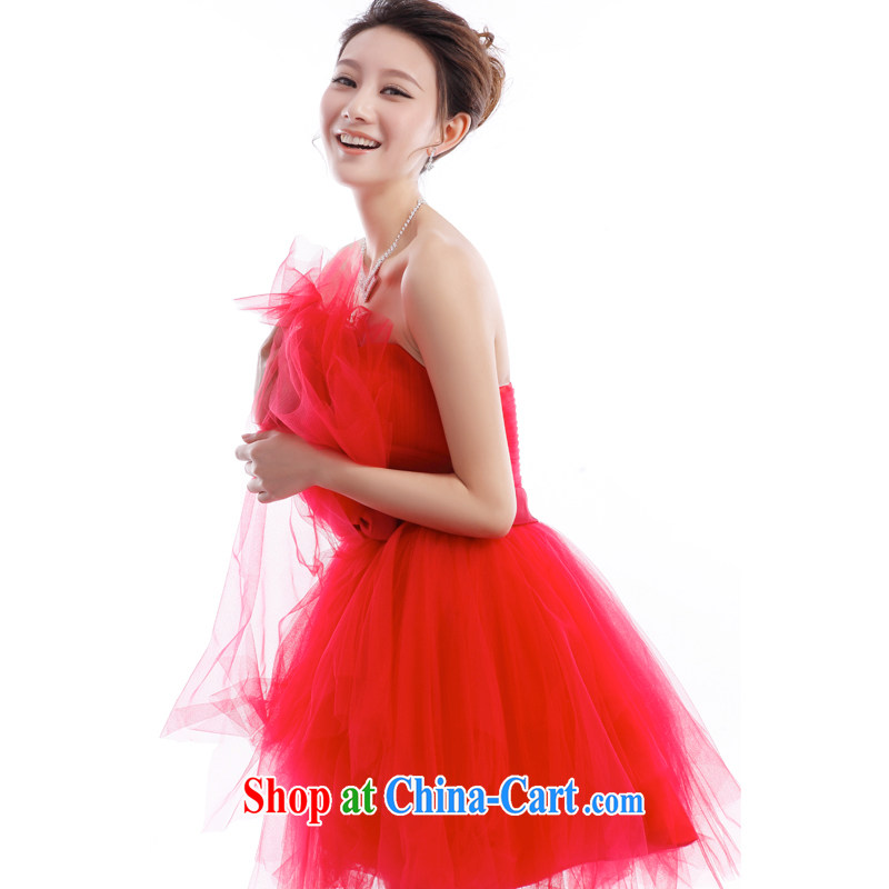 Beijing, Hong Kong, 2015 as soon as possible new betrothal wedding dress bridesmaid Service Bridal toast serving small dress skirt red erase chest shaggy dress short XXL