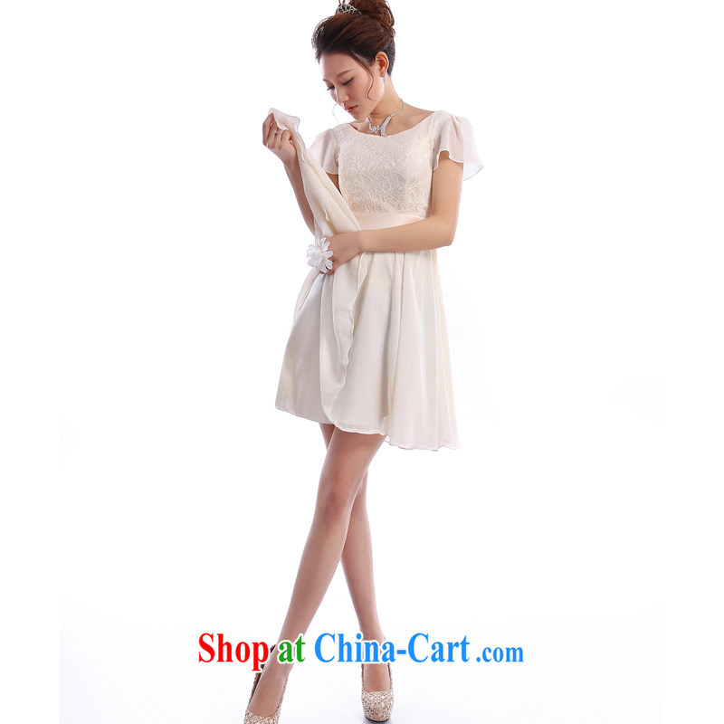 The Champs Elysees, as soon as possible, and the new 2015 small dress dresses sister dress bridesmaid clothing short shoulders Princess skirt champagne color champagne color XXL