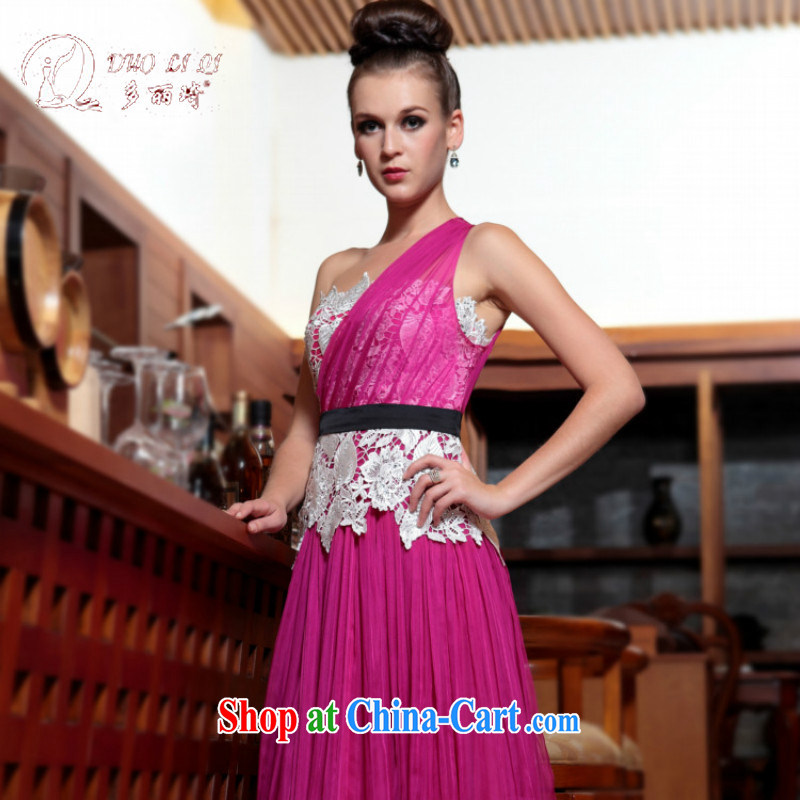More LAI Ki Europe Evening Dress exclusive evening dress, Qi 2015 new pink, shoulder-length, rose red XXL
