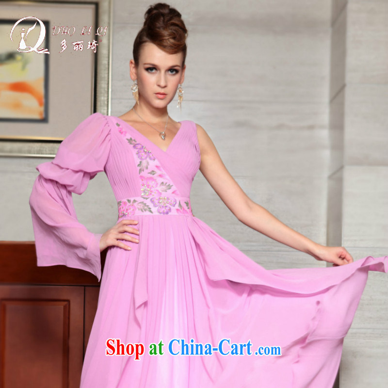 More LAI Ki Europe Evening Dress bridesmaid sisters served his deep V dress dress long, with 2015 new pink XXL