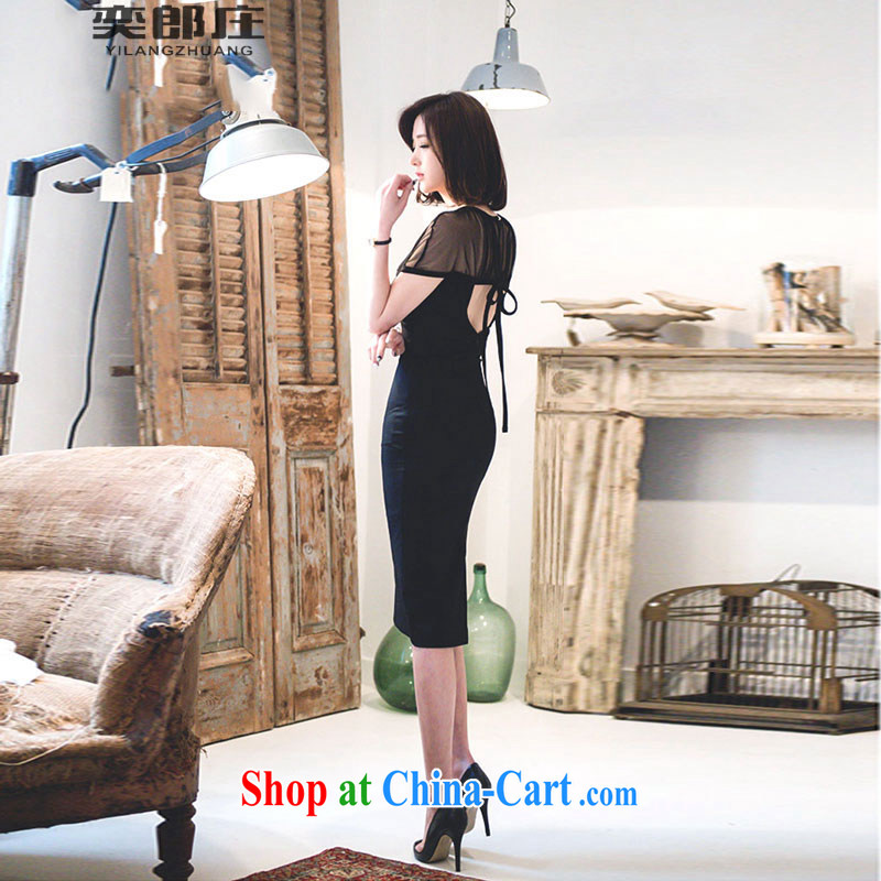 Sir David WILSON, Zhuang 2015 summer new Korean women fashion style charming spell by fluoroscopy back exposed beauty package and dresses 735 black M, Sir David WILSON, Zhuang (YILANGZHUANG), online shopping