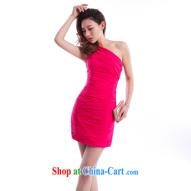 Beijing, Hong Kong, 2015 as soon as possible new single shoulder Evening Dress short skirt sexy short bag and dress night annual store female small dress evening dress rose red?XXL