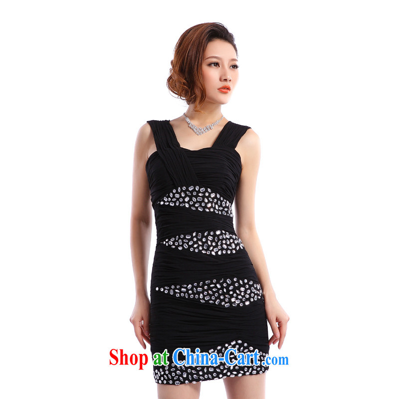 Beijing, Hong Kong, 2015 as soon as possible new dress Short package and sexy night Evening Dress stylish dinner party annual small dress black XXL