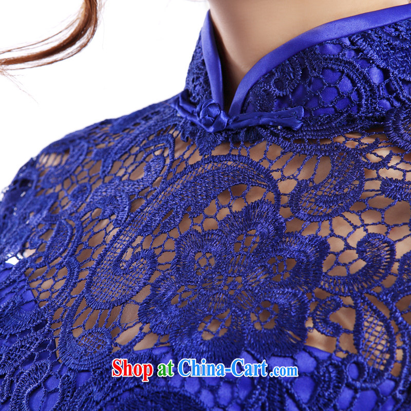 The Champs Elysees, as soon as possible, lace-daily cheongsam dress Evening Dress evening dresses 2015 Spring and Summer Cocktail Reception Banquet short, small dress Chinese brides back door blue XXL, Hong Kong, Seoul, and shopping on the Internet