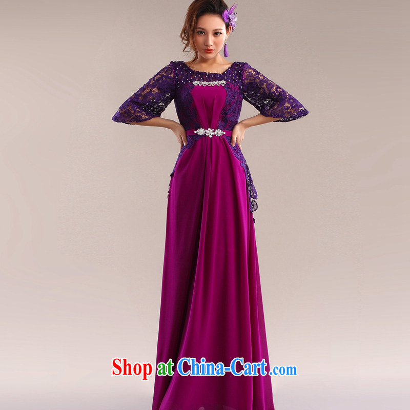 The Champs Elysees, as soon as possible, the cuff lace Evening Dress dress bridal wedding toast serving long arts the elegant late binding wedding dress sexily purple XXL