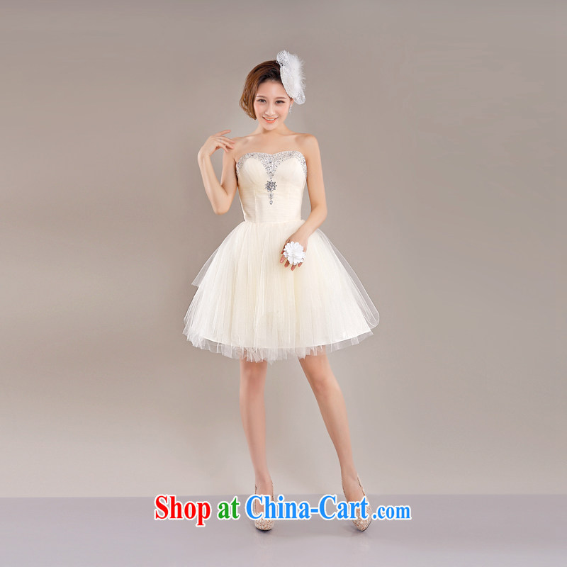 The Champs Elysees, as soon as possible, sister bridesmaid fashion in short, Princess shaggy skirts New Evening Banquet annual chest bare minimum dress dresses champagne color XXL