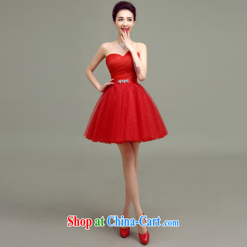 According to T-shirts to the bridal toast service 2015 new wedding dresses small spring and summer Korean fashion red short wedding bridal evening dress red XXL